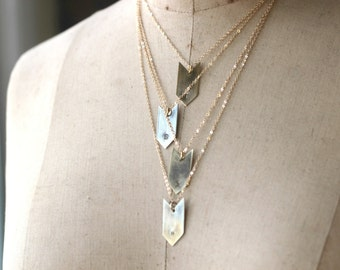 Initial Necklace, Custom Stamped Pendant, Initial Jewelry, Bridesmaid, Layering, Gold Brass Arrow, Hand Stamped Letter,
