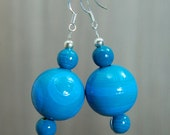 SALE! Large Hand-painted Wooden Bead Earrings - Turquoise - Teal - Sterling Silver Hooks  -  Bright - Colourful - Fun - Varnished