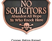 Abandon Hope Solicitors Sign or Plaque 10x7 inches Skull and Cross bones Stay away Available in smaller sizes