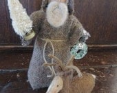 Primitive Santa Stump Doll with Sweet Reindeer and Tree Folk Art Collectible FAAP
