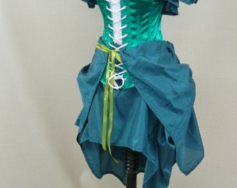 Fantail Emerald Green Tie On Bustle Skirt-One Size Fits All