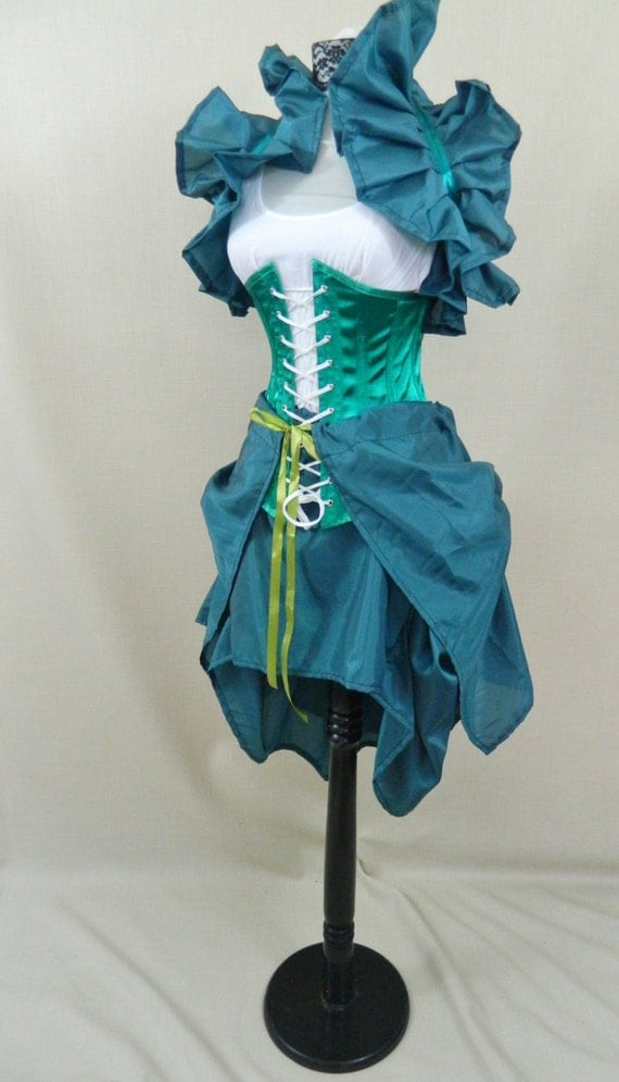 fantail emerald green tie on bustle skirt one size fits all