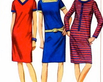 Simplicity 6726 1960s Misses MoD T Shirt Dress Pattern For Knits Womens Vintage Sewing Pattern UNCUT Size 12 Bust 32 NO ENVELOPE