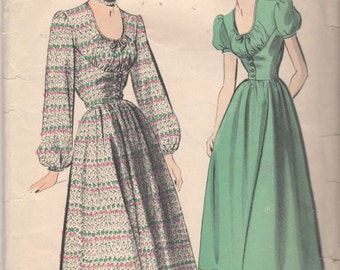 1940s Advance 5073 Misses U Neck DRESS Pattern Shirred Bodice Flared Skirt Womens Vintage Sewing Pattern  Size 12 Bust 30