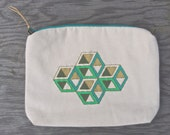 Hand Painted and Stitched Isometric Cube Zipper Pouch- Device Bag- Clutch