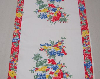 Vintage Towel Colorful Garden Anemone Flowers