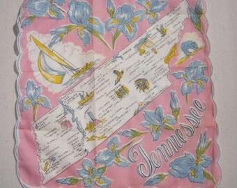 Vintage Souvenir Hankie Tennessee Pink & Blue Irises
