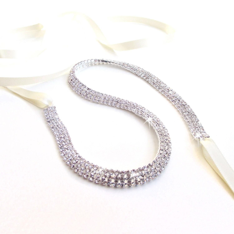 Thin Rhinestone Ribbon Bridal Headband Or Belt Sash Custom