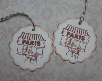 Paris gift tags street cafe french themed handstamped vintage style travel scalloped party favor tags - set of 6
