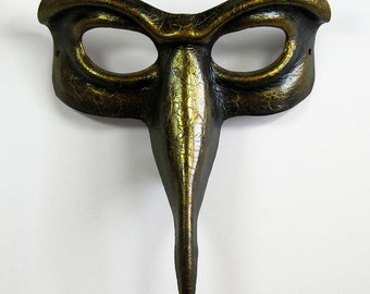 Beaked domino leather mask, gloss black with antique gold crackle and highlights
