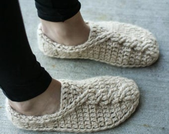 Crochet Pattern  - Cable Slippers