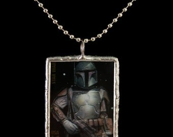 Boba Fett Postage Stamp Soldered Star Wars Necklace - Free Shipping in US -