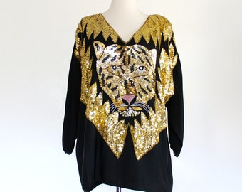 Vintage 80s Gaudy Leopard Tiger Jaguar Beaded Sequin India Silk Cocktail Rocker Glam Deco Trophy Blouse Shirt Top . SML . D177 . 886.10.8.14