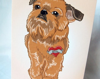 Custom Brussels Griffon Tattoo Greeting Card