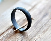 Black Wedding Ring. Men's Wedding Ring. Sterling Silver. Oxidised. Oxidized. Grey/gray. Gunmetal. Minimalist. Modern. Wedding Band.