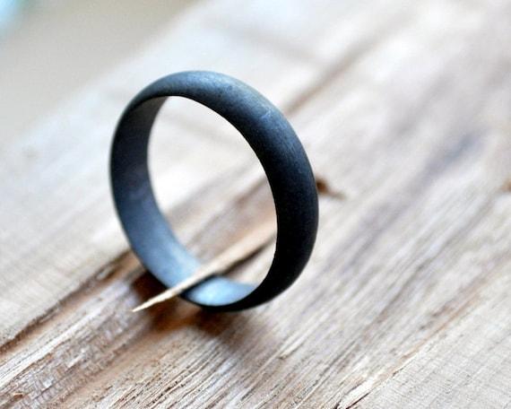 Black wedding ring men39s wedding ring sterling silver for Mens gunmetal wedding rings