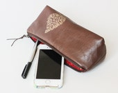 Eco Brown Leather Zippered Clutch with Metallic Gold • Cosmetic Case Artists Tool Pencil Pouch