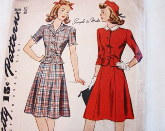 1940s Dress Pattern Simplicity Size 12, Womens 2 piece Dress Top and Skirt Vintage Sewing Pattern 40s