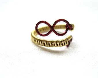 Burgundy And Gold Infinity Ring - Two Tone - Adjustable Wrap Around Ring