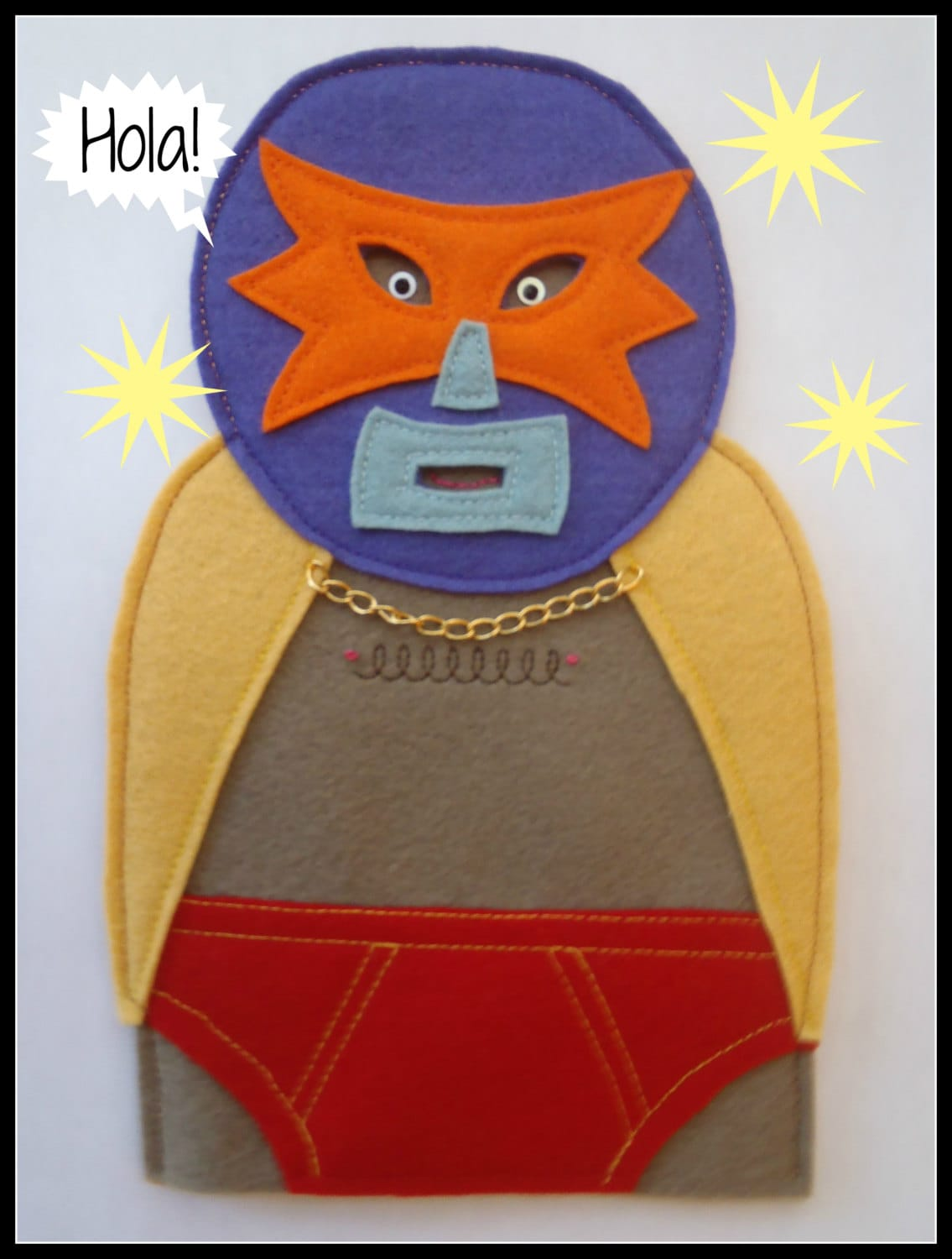 Handmade Mexican Wrestler Tree Topper, Luchadore, Christmas Tree Decoration