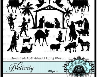 Nativity, Christ, Holiday, Mary, Joesph, Christmas, png,Clipart, Digital Stamps, Patterns,Overlays, Silhouettes,