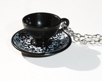 Black and White Teacup Necklace