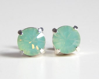 Mint opal stud earring - mint crystal post earrings - bridesmaid earrings- bridal earrings