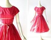 1950s Party Dress / Houndstooth Dress / 50s Dress / Pink Party Dress / XXS XS