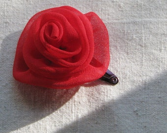 Red rose hair clip, in bright red silk chiffon fabric, small