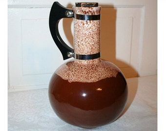 Coffee Carafe Vintage Brown Drip Pottery 1950s Bakelite Handle