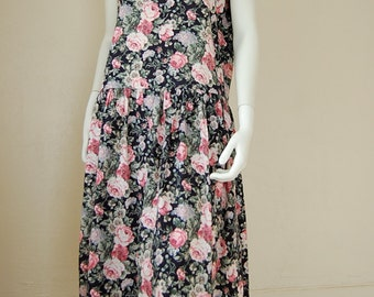 Baggy Floral Dress Vintage 80s Rose Floral Oversized Slouchy Drop-Waist Boho Indie Tank Dress  (one size)