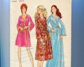 Bathrobe Long and Short Robe Lingerie Sewing Pattern Butterick 5997 Misses Size 10 Vintage 1970s