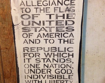 Wood Sign Pledge Allegiance Subway Style Sign Made To Order