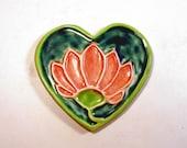 Pretty Lotus Heart Porcelain Ceramic Buddhist Spoon Rest