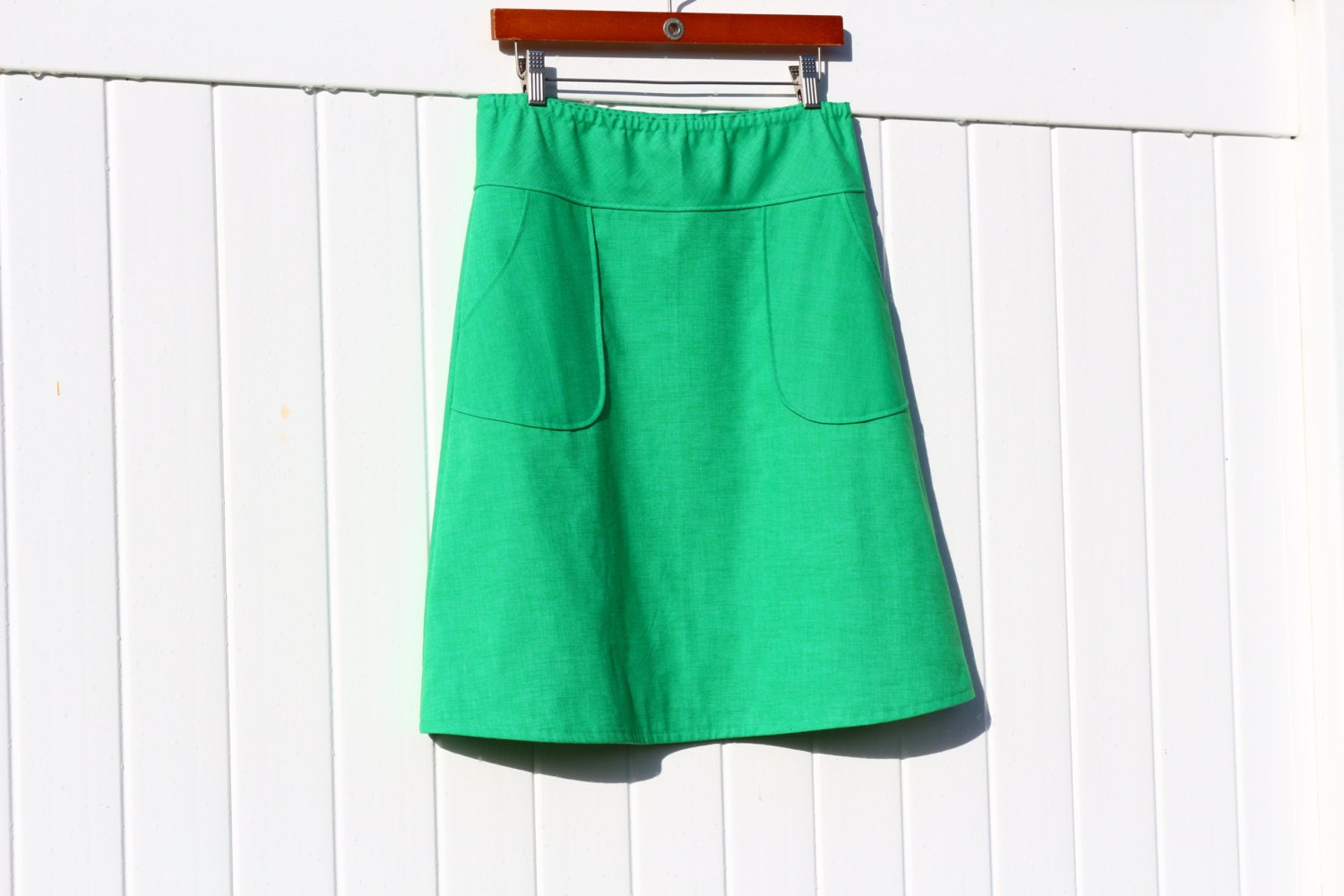 simple a line skirt in solid cotton linen choose your color