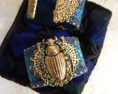 Jeweled Scarab Bracelet,Wide Cuff Bracelet, Egypt Scarab Bracelet,