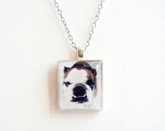 Bulldog Photo Necklace - Personalized Photo Scrabble Jewelry - Personal Photo Jewelry - Instagram Jewelry - Your Photos into Jewelry