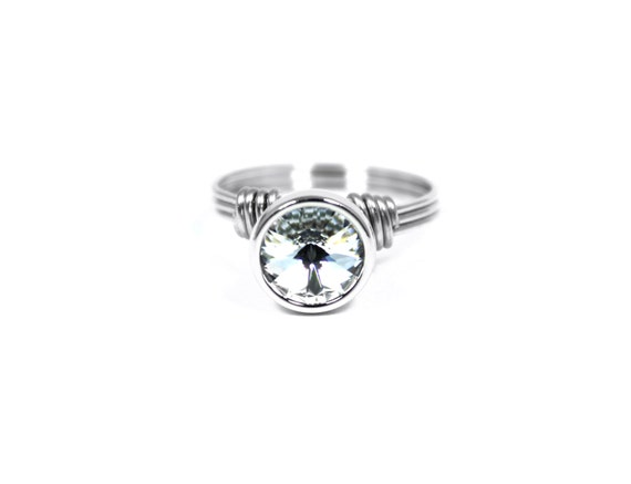 Silver Promise Ring, Stainless Steel Ring, Swarovski Crystal Clear Ring, Faux Diamond Ring, Ring Size 4, 5, 6, 7, 8, 9, 10, 11, 12, 13, 14
