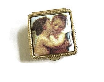 Vintage Porcelain Cupid Angels Photo Transfer Pill or Trinket Box