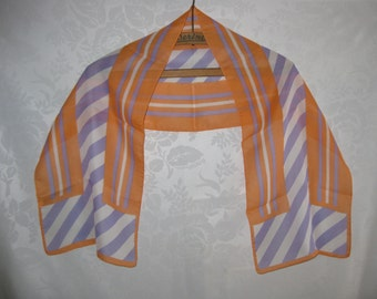 Long Chiffon Scarf Tangerine Lilac White Opposites Attract Vintage 80s