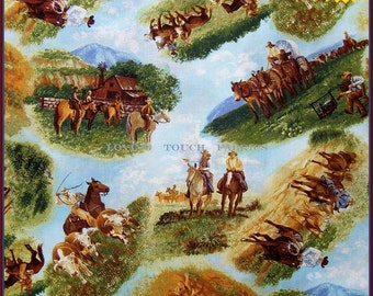 """RJR Red River III Western Texas Cowboy Scenic Horses Cows Cotton Fabric 1/2 Yd 18"""" x 44"""""""
