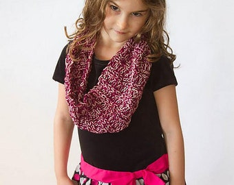 magenta pink infinity scarf, cowl, handknit, ribbed, kid-sized