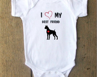 Boxer Puppy baby bodysuit.  White Long Sleeve available