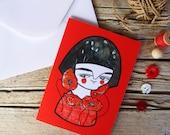 Red geisha greeting card & envelope flowers illustration