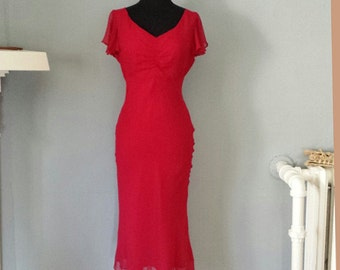 MOVING SALE! 40s -  Magenta Hollywood Cocktail Dress - S