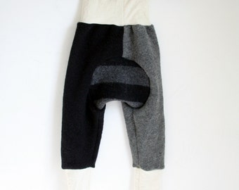 LARGE wool pants gray and black age 1 to 3 years toddler - longies - harem pants - baggy merino wool and lambswool