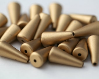Vintage Lucite Gold Matte Cone Drop Beads 17mm (20)