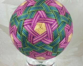 Pink Woven Stars and Stripes temari by Barbara B. Suess