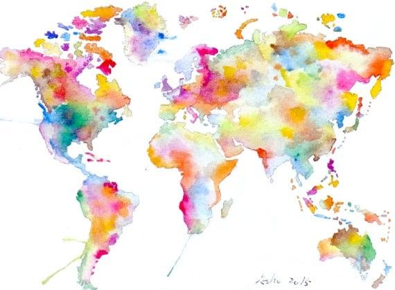 ... Welt Karte Kunst - bunte ...