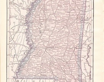 1913 State Map Mississippi - Vintage Antique Map Great for Framing 100 Years Old